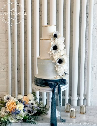 Blue Marble Wedding Cake with Sugar Roses & Anemones | The Quintessential Cake | Chicago | Luxury Wedding Cakes | Company 251 | Aurora