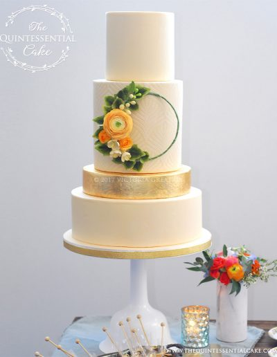 Butter colored Wedding Cake with Gold Leaf and Sugar Flower Hoop | The Quintessential Cake | Chicago | Luxury Wedding Cakes | The Lakewood