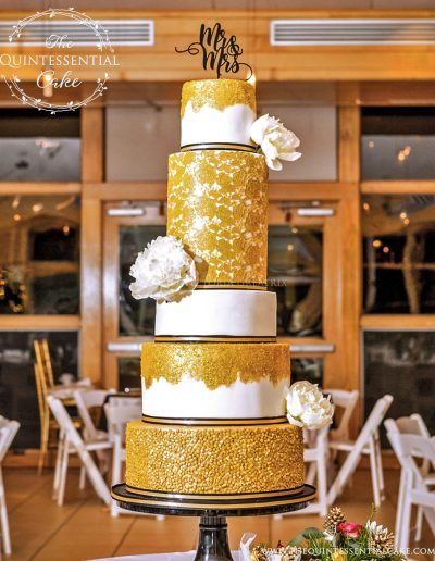 Wedding Cake featuring Gold Sugar Lace, Sequins and Glitter | The Quintessential Cake | Chicago | Luxury Wedding Cakes | Danada House