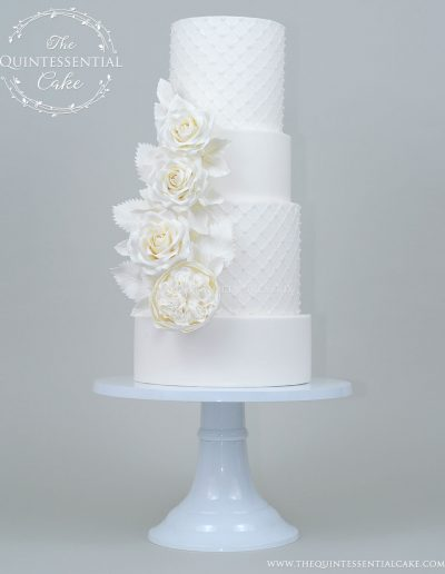 TQC All White Wedding Cake with Sugar Roses and Pearls | The Quintessential Cake | Chicago | Luxury Wedding Cakes | The Celebration Society Magazine