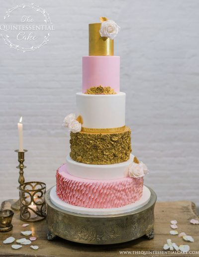 Pink & Gold Wedding Cake with Gold Bas Relief, Ruffles & Sugar Roses | The Quintessential Cake | Chicago | Luxury Wedding Cakes | Chez