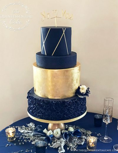 Navy Gold Wedding Cake | The Quintessential Cake | Chicago | Luxury Wedding Cakes