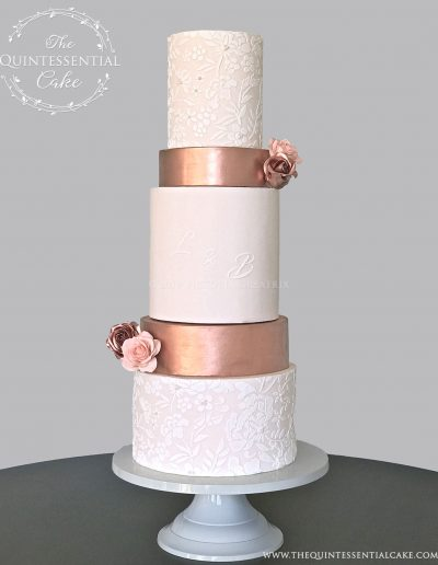 TQC Peach & Copper Wedding Cake | The Quintessential Cake | Luxury Wedding Cakes | Chicago | Hotel Baker | St Charles | The Celebration Society Magazine