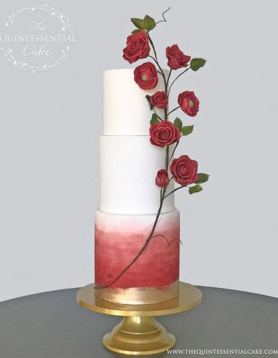 TQC Red Watercolor & Rose Vine Wedding Cake | The Quintessential Cake | Luxury Wedding Cakes | Chicago | Hotel Baker | St Charles | The Celebration Society Magazine
