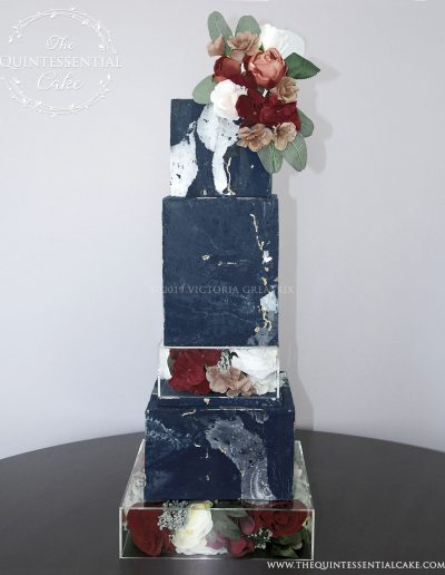 TQC Square Textured Marble Wedding Cake | The Quintessential Cake | Chicago | Luxury Wedding Cakes | Hawthorne's Backyard | West Chicago