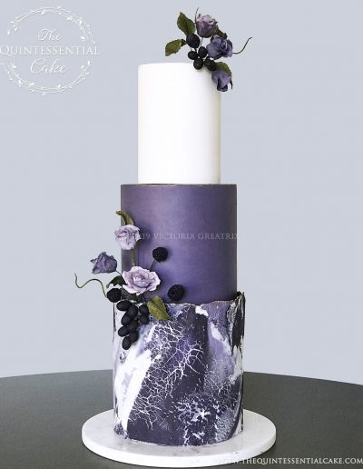 TQC Purple Stone Wedding Cake | The Quintessential Cake | Luxury Wedding Cakes | Chicago | Hotel Baker | St Charles | The Celebration Society Magazine